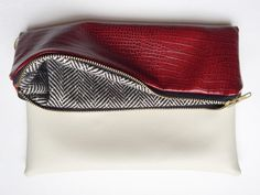 OU Crimson and Cream Lined Fold Over Clutch by Nellie And Phoeb's
