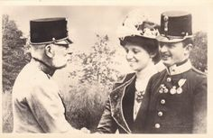 Emperor Franz Josef with his heir and his wife, future Emperor Karl and Empress Zita of Austria.