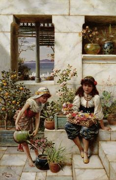 Window Painting - Flower Girls by William Stephen Coleman John William Godward, Classical Art, Window Design, Beautiful Paintings, Beautiful Drawings, Retro, Female Art, Art Gallery, Images