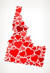 Idaho Icon with Red Hearts Love Pattern vector art illustration