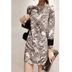 Charming Classic Printing Blocking Color Dress For Women, AS THE PICTURE, L in Vintage Dresses | DressLily.com