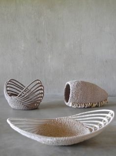 The Interwoven exhibition at Habitat's Platform Gallery on London King's Road fuses contemporary design with traditional African weaving techniques. Rope Basket, Basket Weaving, Jute Crafts, Diy Crafts, Contemporary Baskets, Contemporary Design, Pine Needle Baskets, Woven Baskets, Sewing Baskets