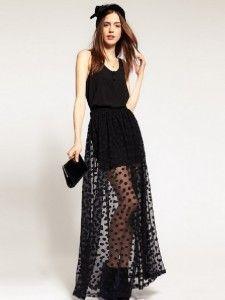 Polka dot maxi skirt.