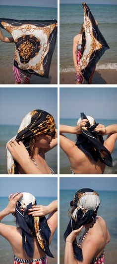 Ideas for how to wear scarves in hair head wraps scarf tutorial Rockabilly Stil, Head Scarf Styles, Hair Romance, Hippie Look, Twist Headband, Scarf Hairstyles, Beach Hairstyles, Wedding Hairstyles, Hairstyles Haircuts