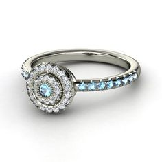 Round Blue Topaz 14K White Gold Ring With Diamond - Click for More...