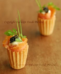 Gourmet Pie Tee - Smoked Salmon with Caviar! For this and other recipes go to redlipsfoods.com