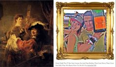 "Left: Rembrandt, Self-portrait with Saskia in the Parable of the Prodigal Son (c. 1635); right: post from the Tumblr ""Rich Kids of Instagram""  Ben Davis, Instagram and Art Theory, artnet.com, June 24, 2014"