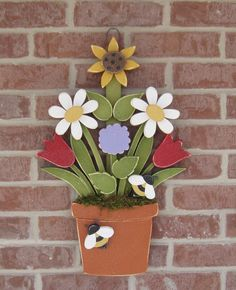 FLOWER POT With Daisies Sunflower Tulips Lilac and by lisabees