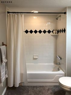 Basement Bathroom Reveal - roomfortuesday.com Basement Flooring, Basement Bathroom, Bathroom Ideas, Basement Design Layout, Heated Tile Floor, Kohler Toilet, Shower Floor Tile, Marble Vanity Tops, Diy On A Budget