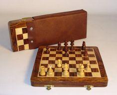"10"" Folding Wood Magnetic Chess"