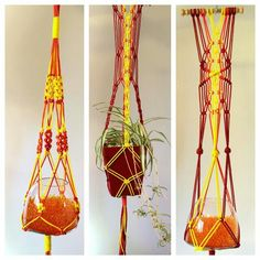 Sun and aztec inspired macrame hanging baskets.