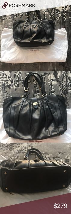 Ferragamo XL Black Leather Handbag Travel Gorgeous bag in preowned condition. Very good interior, literally no stains tears or rips. Some scuffs on the outside of the bag, but not noticeable. I absolutely love this bag and my price is firm. Not in a rush to get rid of this. It is a very large bag, it's perfect for travel. 100% authentic. Please note that it does not come with a dust bag. The dust bag featured is from another one of my Ferragamo bags, and is only for photo purposes only. I…