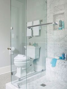 An interrupted view is essential to making a small space feel open and inviting. Here, a glass surround prevents the shower from feeling cramped and dark. The line of sight remains uninterrupted, both from inside and outside the shower.