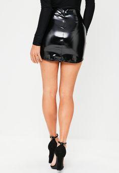 Missguided - Black Vinyl Curve Hem Mini Skirt
