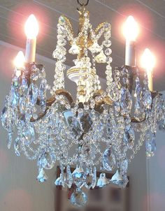 Jeweled Vintage French Chandelier with Roses