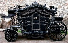 This Victorian hearse is sure to please any gothic lover! With its cool black taint, and Grimm-esque air, the horse-drawn hearse will steal the show. Steam Punk, Funeral, Horse Carriage, Carriage House, Tumblr, Buggy, Horse Drawn, Gothic Steampunk, Steampunk Emporium
