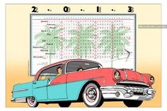 2013 Poster Calendar: Vintage '56 Pontiac Star Chief — This very large size illustration poster calendar makes a great Christmas gift or New Year gift for a lover of vintage American cars!