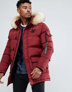 Shop the latest SikSilk parka jacket with faux fur hood in burgundy trends with ASOS! Free delivery and returns (Ts&Cs apply), order today! Best Suits For Men, Cool Suits, Mens Suits, Canada Goose Mens, Canada Goose Jackets, Parka Coat, Winter Collection, Faux Fur, Winter Fashion