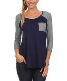 Another great find on #zulily! Navy & White Pocket Raglan Tee #zulilyfinds