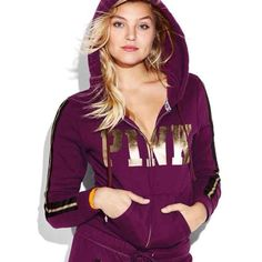 Victoria Secret Pink Maroon COZY Zip Up jacket Brand new in online packaging. Size medium. No offers please, price is firm PINK Victoria's Secret Sweaters