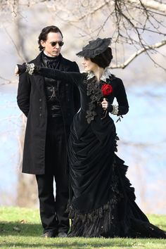 Tom Hiddleston and Jessica Chastain film scenes for Guillermo del Toro's new movie 'Crimson Peak' on May 6, 2014.
