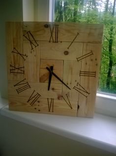 Diy Pallet wall clock. Pallet idea  http://www.ebay.co.uk/itm/251528448211?ssPageName=STRK:MESELX:IT&_trksid=p3984.m1555.l2649