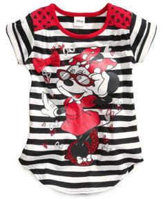 Disney Little Girls' Minnie Mouse Striped Tee - Kids - Macy's