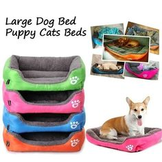 Large Pet Dog Cat Bed Puppy Soft Warm Cushion Winter Plush Mat Multicolor Kennel #Unbranded Puppy Beds, Dog Beds, Pet Kennels, Pet Fashion, Large Animals, Airline Pet Carrier, Large Dogs, Pet Carriers, Dog Crate