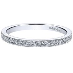 "Gabriel 14K White Gold ""Milgrain"" Detail Channel Set Stackable Ring Featuring 0.12 Carats Round Cut Diamonds Style LR4862W45JJ"