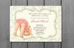 Mint Green Pink Baby Shower Invitation and FREE Thank You Card Printable DIY on Etsy, $10.00