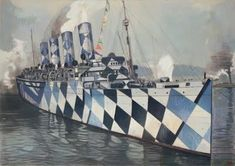 Razzle Dazzle camouflage ships - WW1  Imagine the sight of a fleet of these ships!