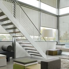 Enjoy large windows but control light and privacy of you room with our XL Roller Blinds. With  stunning aluminium details, colours and textures, you can make a design statement in your open plan space.  #roller blinds #luxaflex #home decor