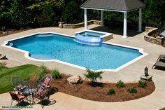 Where are all steps? Pool Contractors, Peachtree City, Custom Pools, Pool Builders, Pool Designs, Landscape Design, Swimming Pools, Outdoor Decor, House