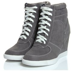 Elyssia Grey Suedette Lace Up Hi Top Wedge ❤ liked on Polyvore