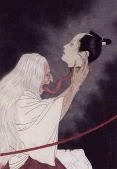 Surrealistic Horror by Takato Yamamoto Japan Illustration, Japanese Drawings, Japanese Art, Mythological Creatures, Mythical Creatures, Japanese Demon Tattoo, Dragons, Ero Guro, Japanese Horror
