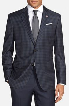 Ted Baker London 'Jay' Trim Fit Check Wool Sport Coat . Crisp tonal checks mark a vintage-tinged blazer formed from Italian wool with a subtle luster.