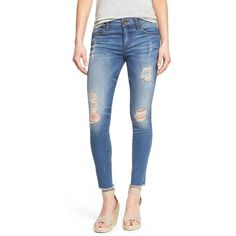 KUT from the Kloth 'Connie' Ripped Ankle Skinny Jeans ($94) ❤ liked on Polyvore featuring jeans, skill, blue jeans, distressed skinny jeans, faded jeans, torn jeans and destructed skinny jeans