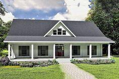 Porch House Plans, Basement House Plans, House Plans One Story, One Story Homes, Barn House Plans, Cottage House Plans, Craftsman House Plans, Country House Plans, New House Plans