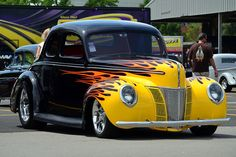 Hot Rods - Let's have our own anniversary event for the 40 ford. Classic Hot Rod, Classic Cars, Hot Rods, Hot Rod Autos, Motorcycle Paint Jobs, Old Fords, Street Rods, Fast Cars, Custom Cars