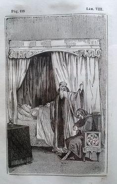 El Señor de Bembibre. Por Enrique Gil y Carrasco - (1844) Lámina VIII...  El abad y don Alonso se quedaron solos por un momento delante del cadaver todavia caliente. -¡Pobre y angelical señora! tu ciega solicitud y extremada ternura han labrado la desdicha de tu hija unica. ¡La paz sea sobre tus restos! Pero vos, añadio volviéndose al señor de Arganza con el ademan de un profeta, vos habeis herido el arbol en la raiz! ...