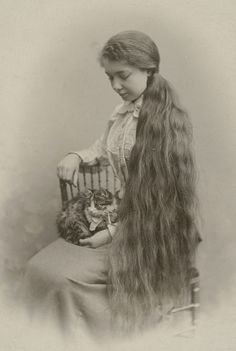 Lovely teen girl with long hair holding a tabby kitten on her lap, antique Victorian photo, Antique Photos, Vintage Pictures, Vintage Photographs, Old Pictures, Vintage Images, Old Photos, Vintage Hairstyles For Long Hair, Lovers Photos, Photo Chat