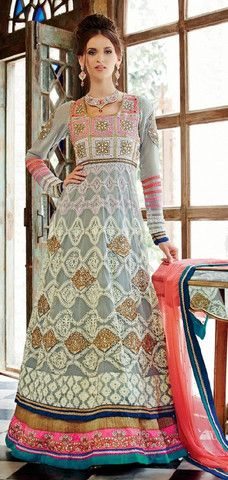 3f8da5c64b Buy In Agra Online White Grey And Pink Anarkali On Cash On Delivery Below  7000 –. Banglewale.com