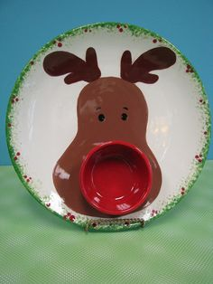 Rudolph the Red-Nosed Chip and Dip by The Pottery Stop Gallery