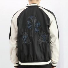 Mens flower embroidered jacket spring and autumn black bomber jackets