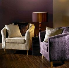 Amethyst Purple and Cream upholstered chair