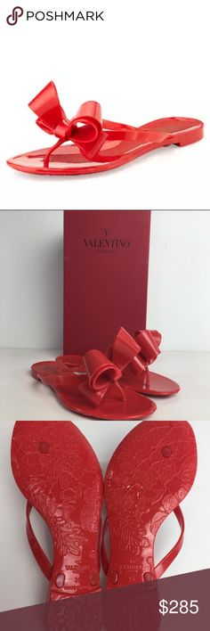 8452d295d Valentino Red Bow Rubber Sandals DESCRIPTION Valentino Red Bow Rubber Thong  Sandals EU Size 35 .