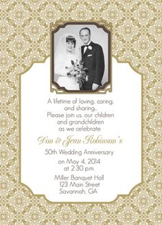 50th wedding anniversary 50th Wedding Anniversary Invitations With ...