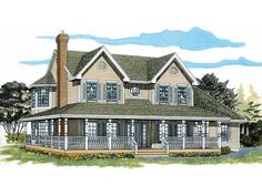 Farmhouse Style 2 story 4 bedrooms(s) House Plan with 2381 total square feet and 2 Full Bathroom(s) from Dream Home Source House Plans