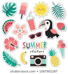 Set of colorful tropical summer stickers toucan blush mint. Photo about mint badge cute patch palm flower cream hawaiian element hawaii pink pineapple leaves - 116448417 Planner Stickers, Journal Stickers, Scrapbook Stickers, Stickers Cool, Cute Laptop Stickers, Tumblr Stickers, Preppy Stickers, Homemade Stickers, Aesthetic Stickers
