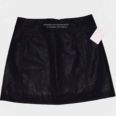 FREE PEOPLE Mini Skirt Vegan Leather Classic Flare Available Sizes : 10 (medium). New with tags.  $78 Retail + Tax.  • Beautiful and sophisticated, this black vegan leather mini skirt is perfect for dressing up or down. • Features an exposed back zip & simple, clean, lined fit & flare silhouette.  • Polyurethane.  • Imported. • Measurements in comment(s) below.  {Southern Girl Fashion - Closet Policy}   ✔️ Same-Business-Day Shipping (10am CT). ✔️ Reasonable best offer considered when…